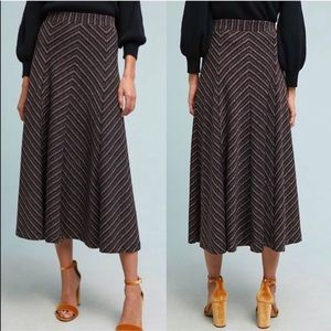 ANTHROPOLOGIE [MaEve] Chevron shine midi skirt